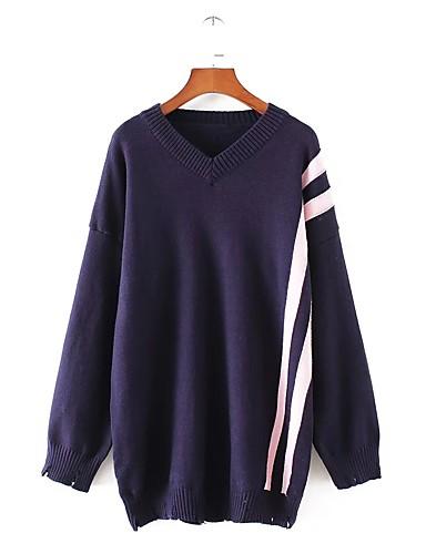 Damen Standard Pullover-Lässig/Alltäglich Ausgehen Solide Gestreift V-Ausschnitt Langarm Andere Dick Mikro-elastisch