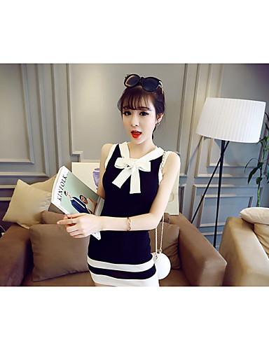Damen Hülle Kleid-Alltag Ausgehen Solide Gestreift V-Ausschnitt Übers Knie Ärmellos Polyester Sommer Hohe Taillenlinie Mikro-elastisch