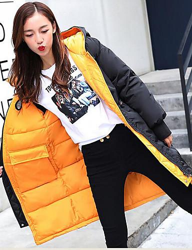 Damen Daunenjacke Mantel,Lang Einfach Street Schick Ausgehen Lässig/Alltäglich Solide-Acryl Nylon Langarm