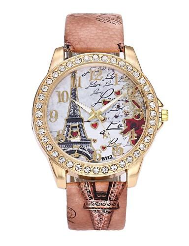Damskie Kwarcowy Sztuczny Diamant Zegarek Zegarek na nadgarstek Chiński sztuczna Diament PU Pasmo Luksusowy Kwiat Vintage Na co dzień