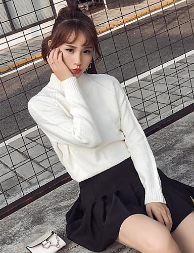 Damen Standard Pullover-Lässig/Alltäglich Solide Rundhalsausschnitt Langarm Baumwolle Mittel Mikro-elastisch