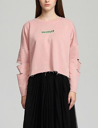 Damen Pullover Ausgehen Lässig/Alltäglich Solide Buchstabe Baumwolle