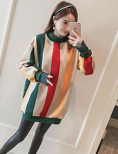 Damen Pullover Lässig/Alltäglich Solide Gestreift Baumwolle