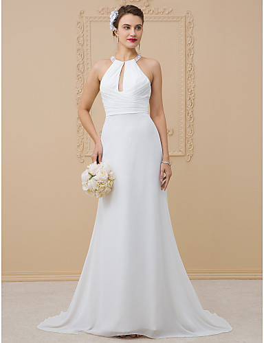 55e9d8fc Sheath / Column Halter Neck Floor Length Chiffon / Sheer Lace  Made-To-Measure Wedding Dresses with Beading / Criss Cross by LAN TING BRIDE®  / Beautiful Back