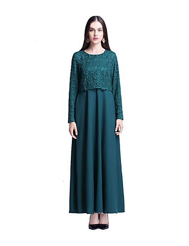 Damen Swing Kleid-Lässig/Alltäglich Solide Rundhalsausschnitt Maxi Langarm Baumwolle Frühling/Herbst Mittlere Hüfthöhe Mikro-elastisch