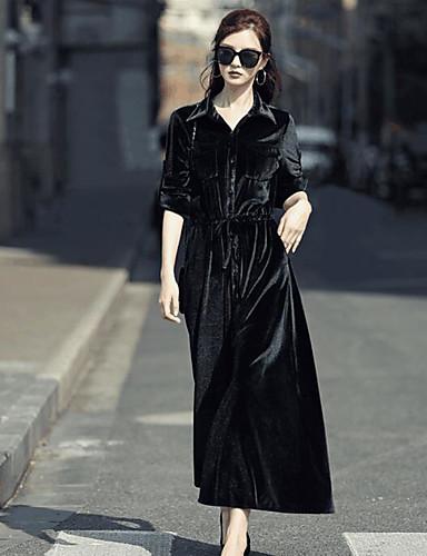 Damen Swing Kleid-Ausgehen Solide Rundhalsausschnitt Midi Langarm 100% Polyester Mittlere Hüfthöhe Mikro-elastisch Mittel