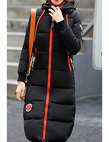 Damen Daunenjacke Mantel Einfach Lässig/Alltäglich Ausgehen Einfarbig-Andere Langarm