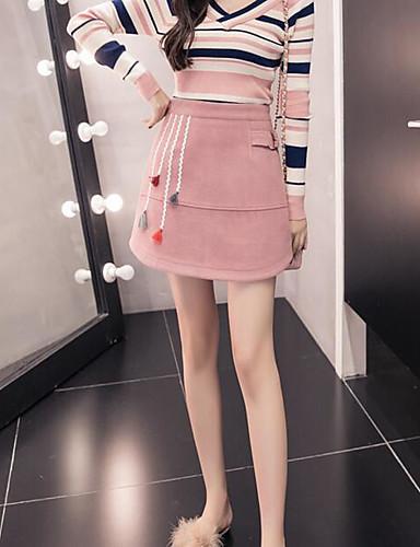 Γυναικεία Φούστα Σύγχρονο   Κλασσικό   Διαχρονικό Φούστες - Συμπαγές Χρώμα  Ψηλή Μέση   Χειμώνας f52b138621d