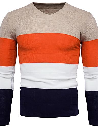 Herrn Übergrössen Langarm Pullover - Einfarbig V-Ausschnitt