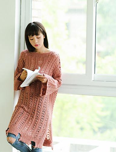 Damen Langarm Lang Pullover - Solide