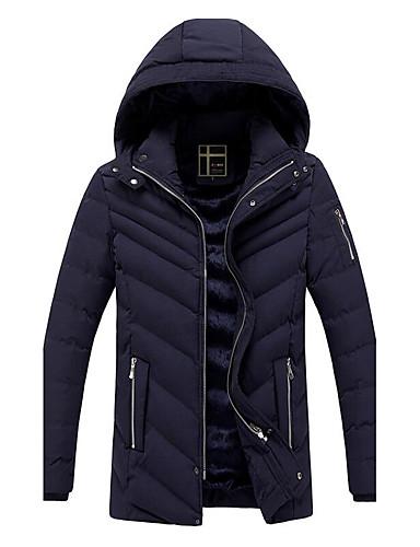Herren Gefüttert Mantel,Standard Einfach Übergröße Solide-Baumwolle Kunstseide Daune Langarm