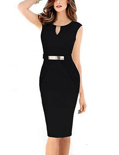 106c183f3f6 Γυναικεία Μεγάλα Μεγέθη Εξόδου Λεπτό Εφαρμοστό Φόρεμα - Μονόχρωμο Ως το  Γόνατο Λαιμόκοψη V