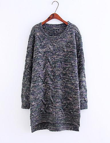 Damen Lang Pullover-Ausgehen Lässig/Alltäglich Solide Rundhalsausschnitt Langarm Baumwolle Mittel Dick Mikro-elastisch
