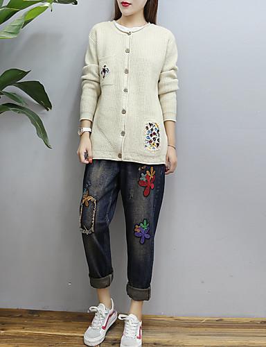 Damen Standard Strickjacke-Lässig/Alltäglich Ausgehen Solide Rundhalsausschnitt Langarm Baumwolle Andere Mittel Dünn Mikro-elastisch