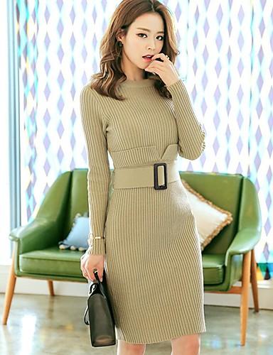 Damen Ausgehen Hülle Kleid Solide Übers Knie Hohe Taillenlinie