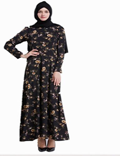 Damen Alltag Ausgehen Swing Knielang Kleid Blumen Rundhalsausschnitt Langarm Hohe Taillenlinie