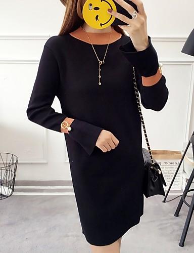 Damen Tunika Kleid-Ausgehen Solide Rundhalsausschnitt Übers Knie Langarm Polyester Mittlere Hüfthöhe Mikro-elastisch Mittel