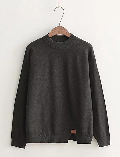 Damen Standard Pullover-Ausgehen Lässig/Alltäglich Solide Rundhalsausschnitt Langarm Baumwolle Mittel Dick Mikro-elastisch