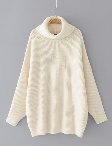 Damen Standard Pullover-Ausgehen Lässig/Alltäglich Solide Rollkragen Langarm Baumwolle Andere Dünn Mittel Mikro-elastisch
