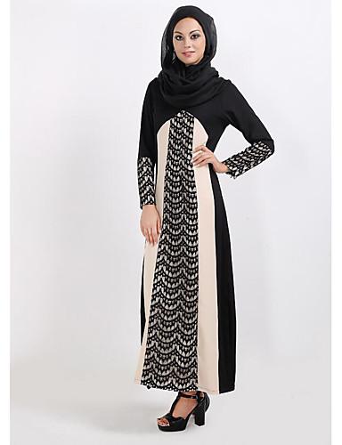 Damen Hülle Kleid-Lässig/Alltäglich Einfach Solide Rundhalsausschnitt Maxi Langärmelige Polyester Winter Mittlere Taillenlinie Unelastisch