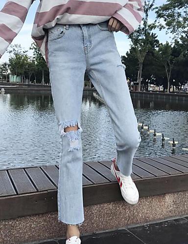Damen Freizeit Mikro-elastisch Chinos Jeans Hose Solide