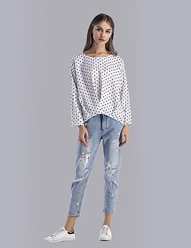 Damen Punkt Street Schick Alltag Festtage T-shirt,Rundhalsausschnitt Langarm Polyester