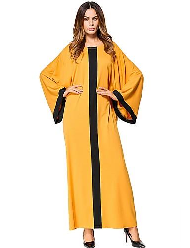 baratos Vestidos Longos-Mulheres Algodão Oversized Túnicas Vestido Sólido Longo