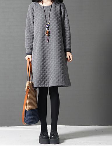 Damen Baumwolle A-Linie Kleid Solide Knielang / Übers Knie