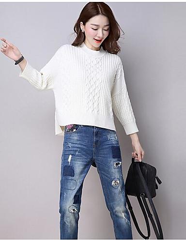 Damen Standard Pullover-Ausgehen Einfach Solide Rundhalsausschnitt Langärmelige Polyester Herbst Mittel strenchy