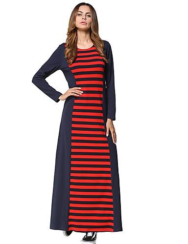 Damen Tunika Kleid-Lässig/Alltäglich Gestreift Einfarbig Rundhalsausschnitt Maxi Langärmelige Polyester Alle Jahreszeiten Mittlere