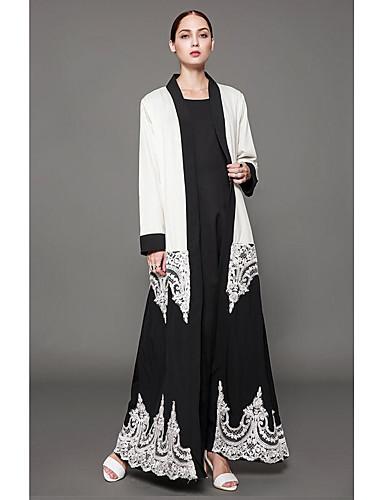 Damen Kaftan Kleid-Lässig/Alltäglich Solide Rundhalsausschnitt Maxi Langarm Polyester Winter Mittlere Taillenlinie Unelastisch