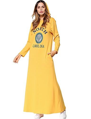 Damen Baumwolle Tunika Kleid Solide / Buchstabe Maxi