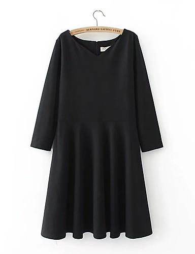 Damen Das kleine Schwarze Kleid-Lässig/Alltäglich Solide V-Ausschnitt Übers Knie Langarm Baumwolle Hohe Hüfthöhe Dehnbar Mittel