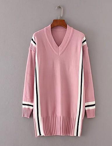 Damen Lang Pullover-Ausgehen Lässig/Alltäglich Gestreift Einfarbig V-Ausschnitt Langarm Baumwolle Andere Mittel Dick Mikro-elastisch