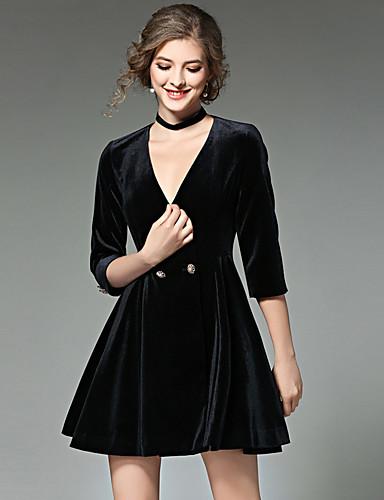 Damen Hülle Kleid-Ausgehen Solide V-Ausschnitt Übers Knie 3/4 Ärmel Kunstseide Frühling Herbst Hohe Taillenlinie Mikro-elastisch Mittel