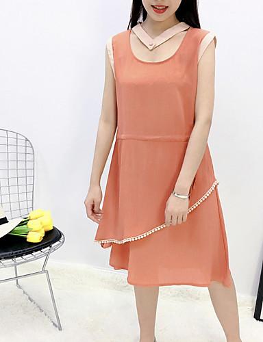 Damen Hülle Kleid-Ausgehen Lässig/Alltäglich Solide Rundhalsausschnitt Knielang Ärmellos Polyester Hohe Taillenlinie Unelastisch