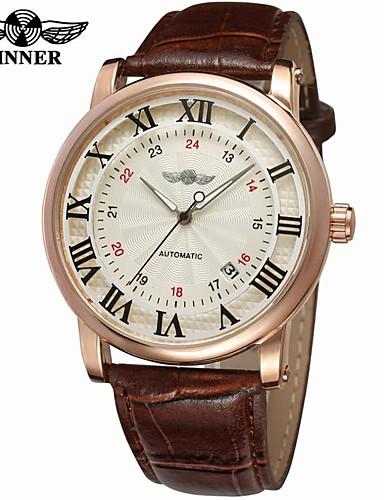 WINNER Męskie Nakręcanie automatyczne Zegarek na nadgarstek Kalendarz Skóra Pasmo Vintage Na co dzień Do sukni / garnituru Modny