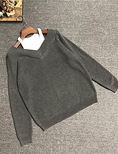 Damen Kurz Pullover-Freizeitskleidung Solide V-Ausschnitt Langarm Wolle Winter Herbst Mittel Unelastisch