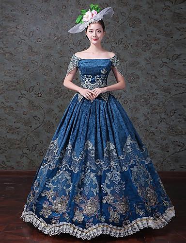 8191f2ea86 Βίντατζ Rococo Victorian 18ος αιώνας Στολές Γυναικεία Φορέματα Κοστούμι  πάρτι Χορός μεταμφιεσμένων Μπλε Πεπαλαιωμένο Cosplay Αμάνικο
