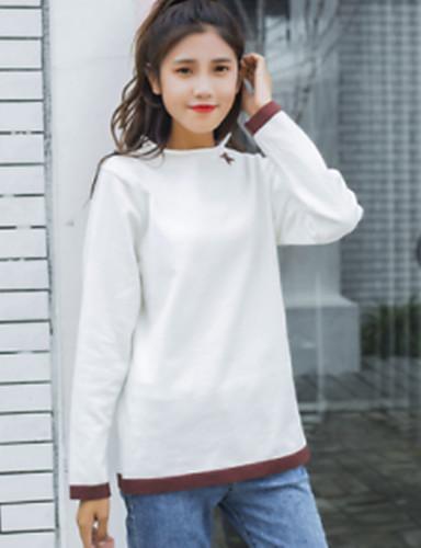Damen Standard Pullover-Arbeit Street Schick Solide Ständer Langarm Andere Mittel Mikro-elastisch