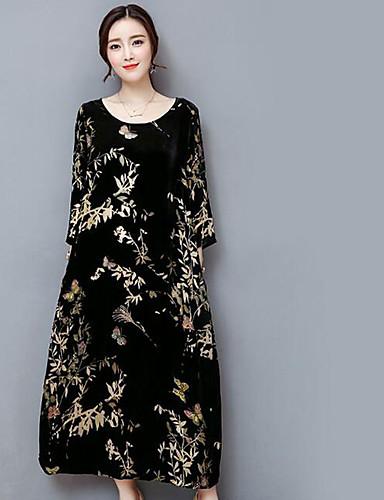 Damen Swing Kleid-Lässig/Alltäglich Druck Rundhalsausschnitt Maxi 3/4 Ärmel Polyester Mittlere Hüfthöhe Mikro-elastisch Mittel