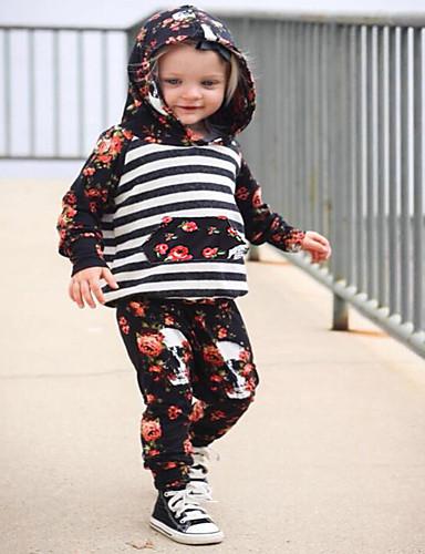 Komplet odzieży Bawełna Poliester Dla dziewczynek Prążki Kwiaty Wiosna Jesień Długi rękaw Urocza Aktywny Black