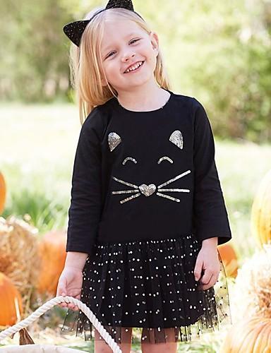 Sukienka Bawełna Dziewczyny Wyjściowe Urlop Wzorzec Kot Urocza Aktywny Black