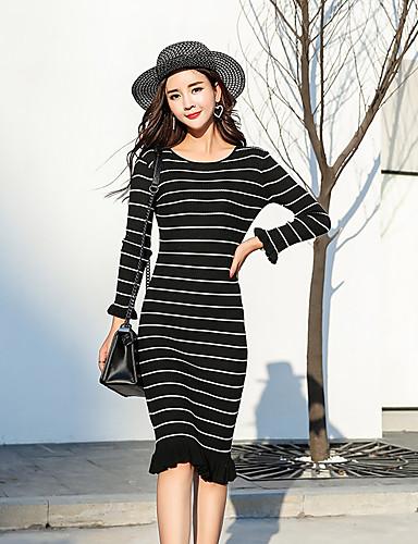Damen Strickware Kleid-Lässig/Alltäglich Gestreift Rundhalsausschnitt Midi Langarm Baumwolle Mittlere Hüfthöhe Dehnbar Mittel