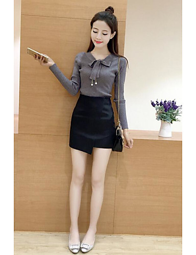 Damen Standard Pullover-Lässig/Alltäglich Solide V-Ausschnitt Langarm Andere Mittel Mikro-elastisch