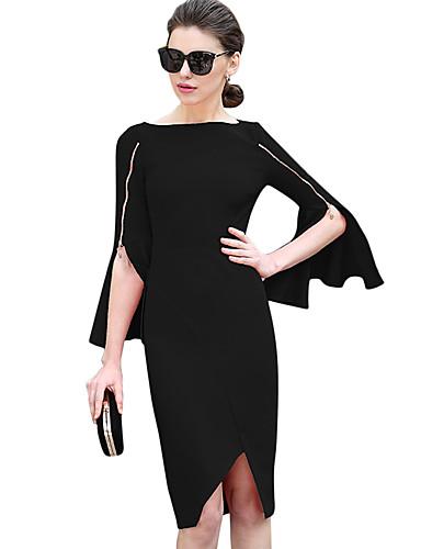 Damskie Impreza Moda miejska Bawełna Bodycon / Pochwa Sukienka - Solidne kolory Łódeczka Wysoka talia Asymetryczna / Flare rękawem