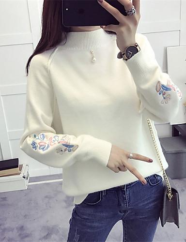 Damen Einfach Wolle Langarm Pullover - Solide / Herbst / Winter