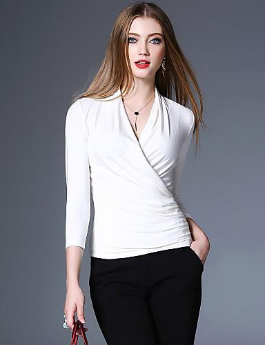 abordables Hauts pour Femme-Tee-shirt Femme, Couleur Pleine Vacances / Sortie Rétro / Bohème / Chic de Rue Col en V