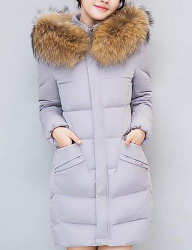 Damen Baumwolle Ausgehen Freizeit Aktiv Daunenjacke - Druck, Solide Gestreift