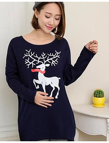 Damen Pullover Ausgehen Lässig/Alltäglich Druck Baumwolle